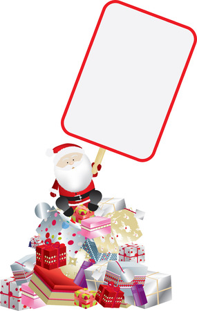 santa claus holding sign on a mountain of gifts Vector