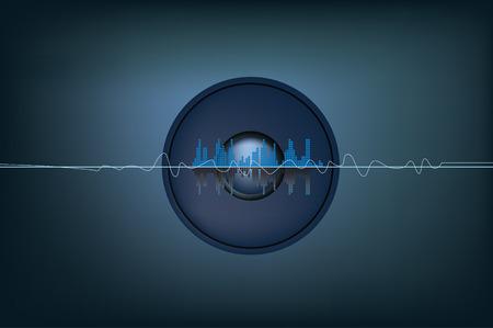 speaker system: soundwaves y la ilustraci�n de un sistema de altavoces