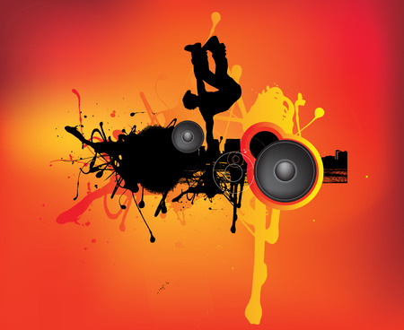 urban grunge: a break dancer in an urban grunge music scene