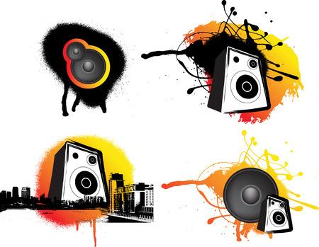 london night: black and ornage urban music set of 4 graphics Illustration