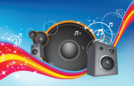 illustration of a rainbow and music and speakers abstract Vector