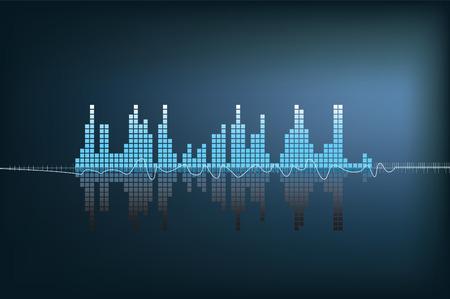 soundwave: modern illustration of a blue soundwave with reflection Illustration