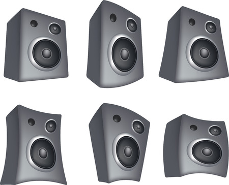 illustration set of 6 speaker in different positions Vector