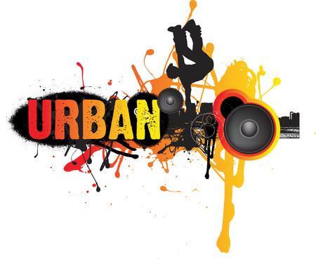 london night: illustration of urban dance music on white background Illustration