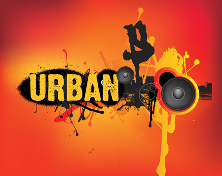 illustration of modern urban music dance on orange Vector