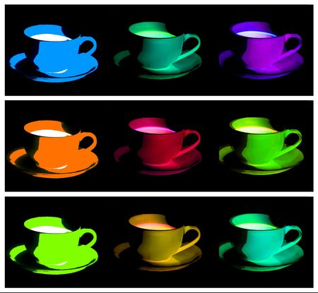 the view option: different coloured cups of tea and coffee Stock Photo