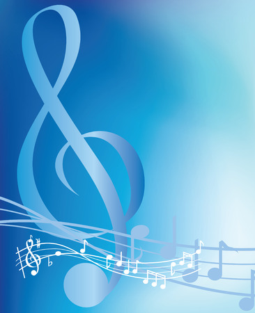 chord: illustrated blue musical notes abstract background Illustration