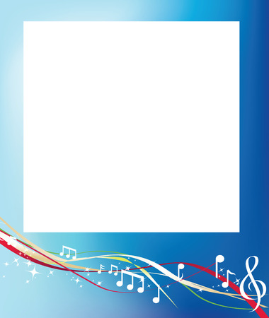 musical background notes and swirls on blue Vector