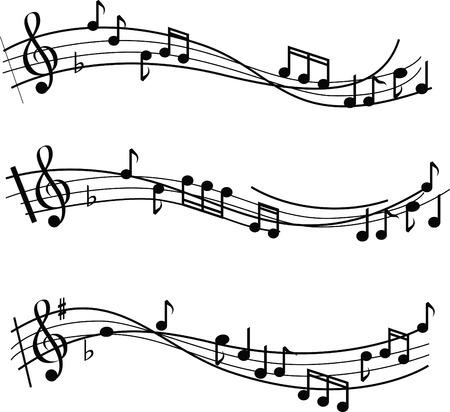 musical note: illustrato le note musicali sul design sheet music Vettoriali