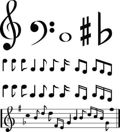 music note: black and white music note selection icon set Illustration