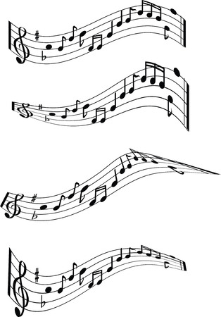 sheet music: black and white musical notes illustrated chords Illustration