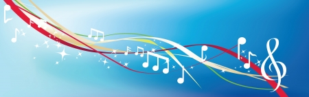 chord: musical notes and abstract lines and swirls on blue Illustration