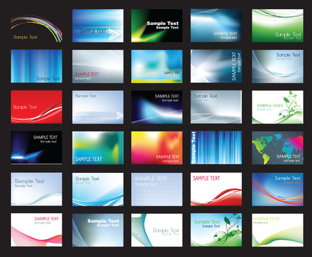 Illustration of large set of coloured business card templates Illustration