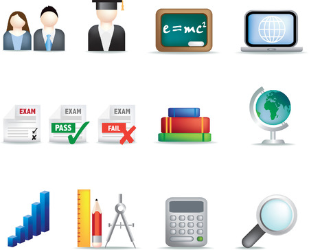 mc2: illustration of detailed coloured education icon set