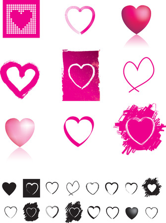 Illustration of different styles of love heart Vector