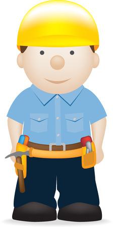 builder cartoon: illustration of a construction builder cartoon character Illustration
