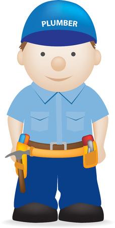 plumber with tools: ilustraci�n, personaje de dibujos animados de un fontanero cute sobre fondo blanco