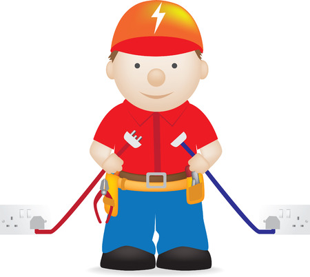 illustration of a modern friendly electrician character Stock Vector - 5276981