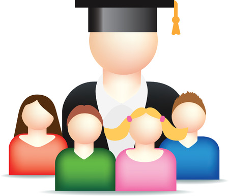mentor: vector illustration of a teacher and students