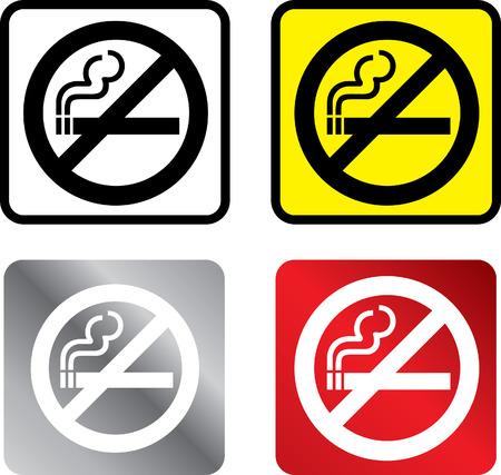prohibido fumar: illustratiuon en 4 diferentes colores de una se�al de no fumar Vectores