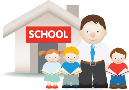 successful student: illustrazione di un insegnante e gli studenti fuori della scuola