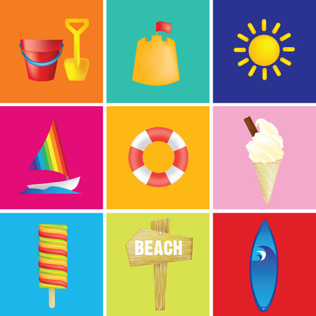 british culture: la ilustraci�n de una playa o de vacaciones en la playa o de vacaciones Vectores