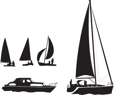ilustración conjunto de siluetas de barcos y yates