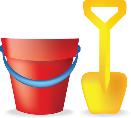 sandcastle: toy bucket and spade illustration on white background Illustration