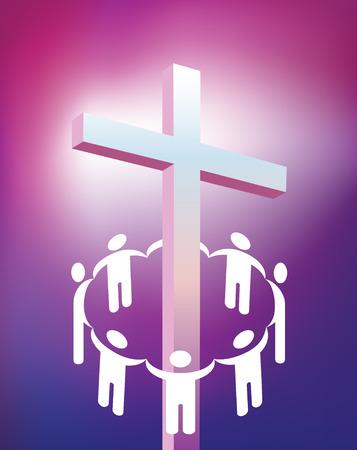 cruz cristiana: illustraton del c�rculo tomados de las manos alrededor de la cruz cristiana