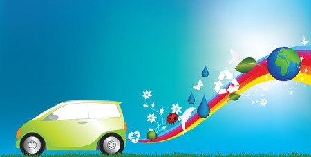 illustration of an environmentally freindly green car Vector