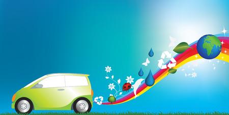 illustration of an environmentally freindly green car Vector