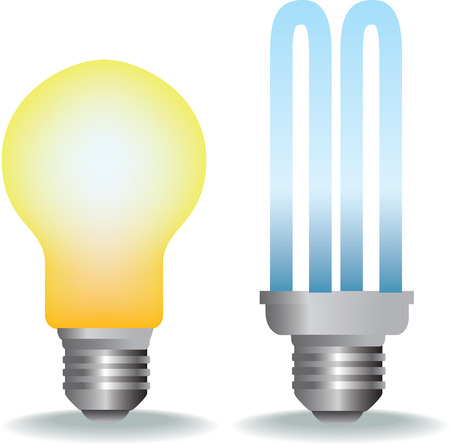 illustration of old style and new energy saver bulb