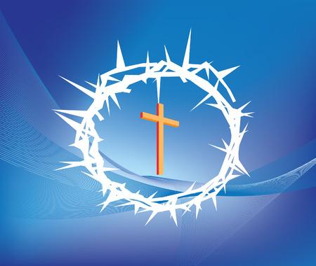 クラウン ofthorns とキリスト教の十字の図