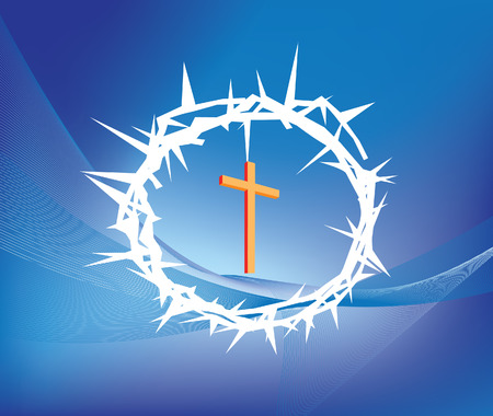 jesus cross: illustration of crown ofthorns and christian cross