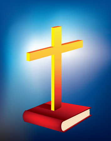 bible and cross: illustration of a cross rising from a bible Illustration