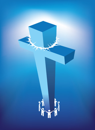 illustrataion of christian cross and a ring of people Vector