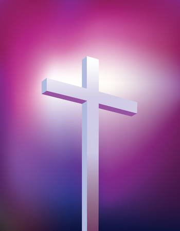 jesus cross: Illustration of a purple and blue christian modern cross