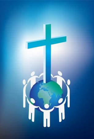 familia en la iglesia: el cristianismo y el mundo rodeado por un anillo de personas Vectores