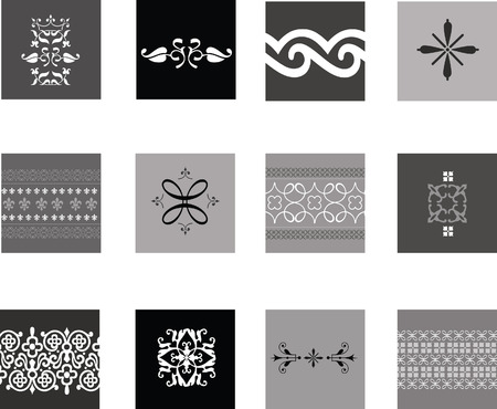 finial: Illustration of black and white intricate traditional patterns