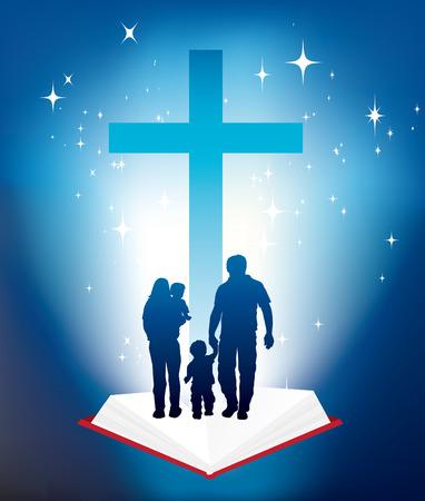familia cristiana: la ilustraci�n de la familia cristiana y de la Biblia y la cruz