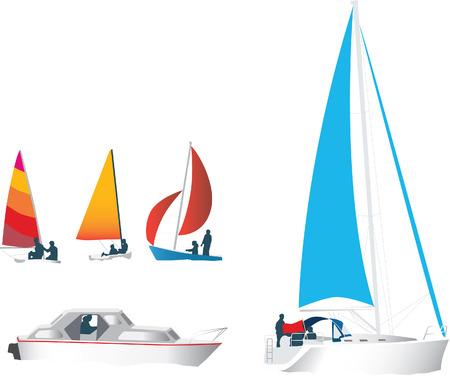 illustratie reeks van silhouetten van boten en jachten