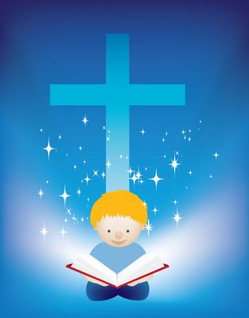 jesus on cross: illustrazione di un bambino piccolo a leggere la Bibbia Vettoriali