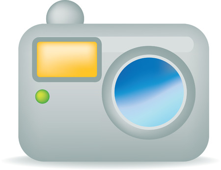 dun: illustration of a simple silver camera on white
