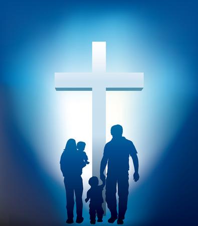christian family walking towards a cross Vector Illustration