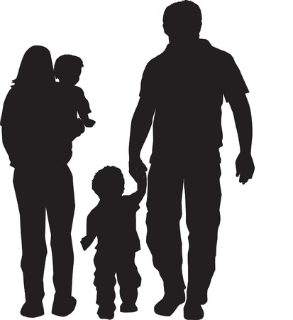 black family: illustration of a family in black silhouette