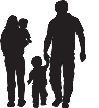 papa y mama: Ilustraci�n de una familia en la silueta negra