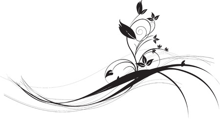 floral scroll: illustration of a delicate and detailed floral silhouette Illustration
