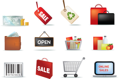 illustration of retail coloured detailed icon set Vector