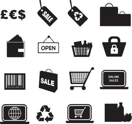 illustration of retail silhouette icon button set Stock Vector - 5415595
