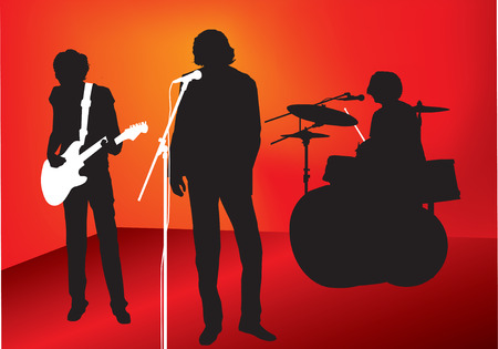 illustration of a rock or pop band with guitar, drums and singer Vector